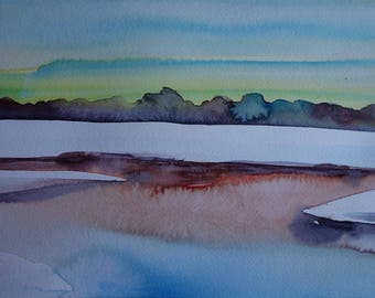 abstract landscape watercolor: frozen lake