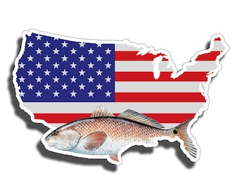 Red Fish USA Flag Sticker Printed Digital Vinyl Decal Fishing Car Truck Boat Patriotic American America Laptop US