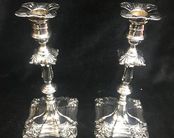 Pair Of beautiful fine Sterling Silver Candlesticks By Hawksworth, Eyre & Co Sheffield England.1919.