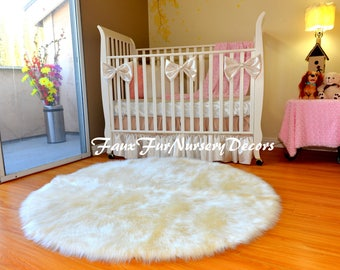 Nursery Rug Decor Area Rug Sheepskin Round Furry Plush Cute Girl or Boy Decorative Warm White in Picture Handmade USA PlushFurEver