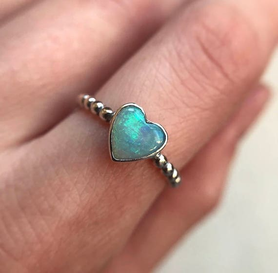 Oxidized sterling silver ring with Australian crystal heart opal SZ 6