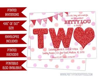 TWO Sweetheart 2nd Birthday Girl invitation - Valentine 2nd Birthday Invitations - Girl Sweetheart Invite 2 Birthday - Girls 2nd Birthday