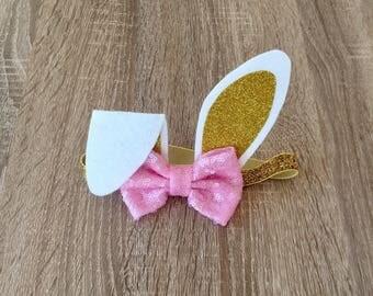 Baby headband. First birthday. Baby accessories. Bunny headband. Pink and gold banny. Headband. Bunny ears. Baby birthday