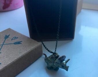 Ceramic dinosaur necklace