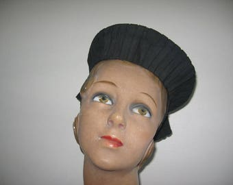 1930's Black Faille and Straw Aureole Halo Hat with Skirt Back!