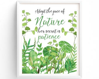 Wall Art Prints, Printable art,  Adopt The Pace Of Nature, Her Secret Is Patience, Ralph Waldo Emerson, Digital Art, Download