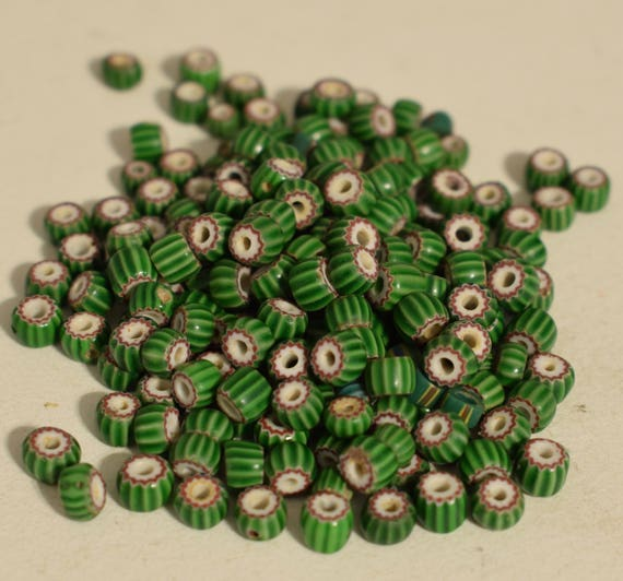 Beads African Green Vintage Chevron Glass Jewelry Necklaces Bracelets African Glass