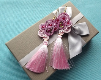 Shades of a rose NEW Crystall Soutache Earrings with tassel