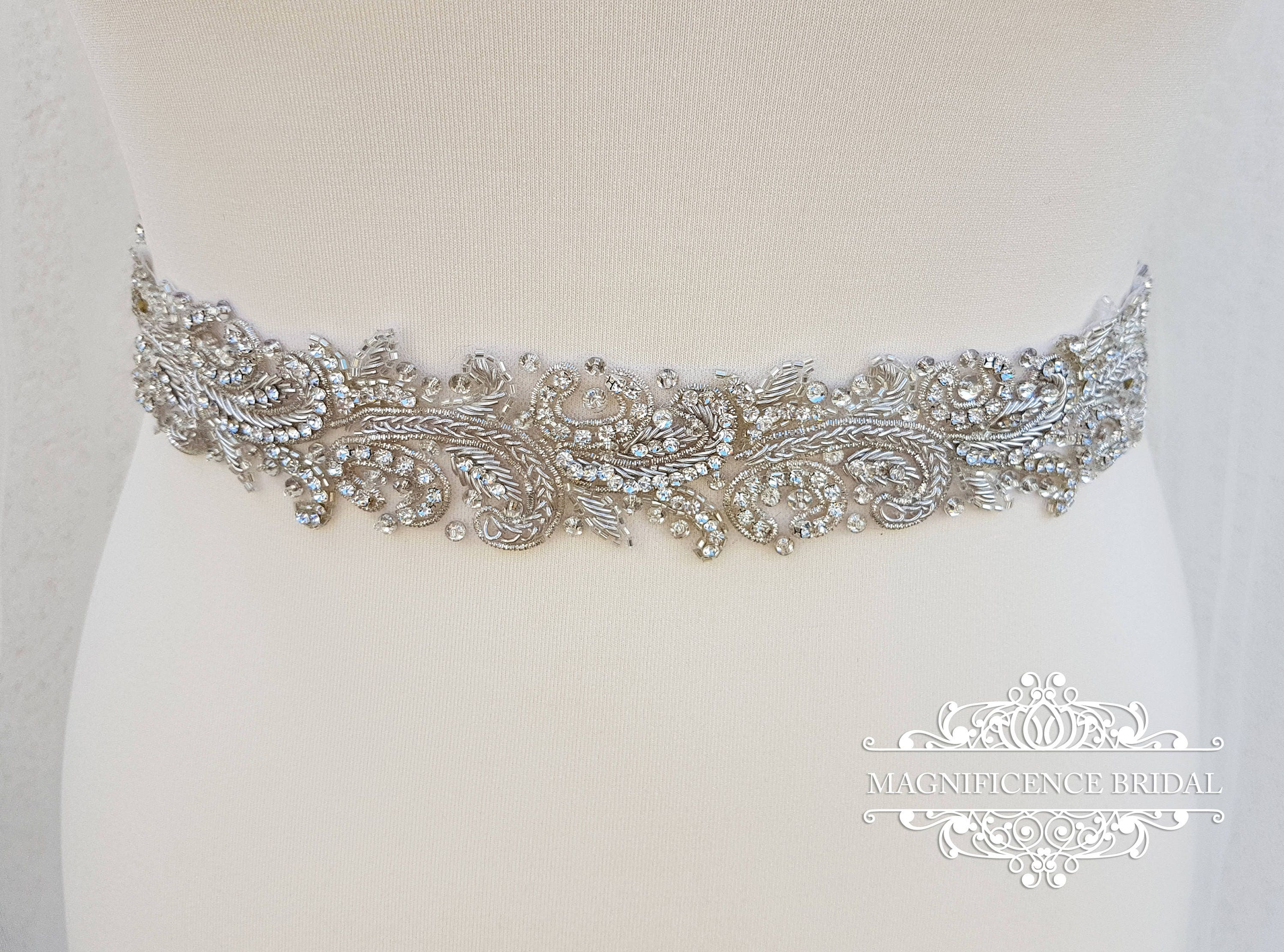 Luxury bridal belt, silver wedding belt, bridal belt, wedding ...