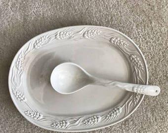 Otagiri  Serving Platter White Ceramic  with Ladle
