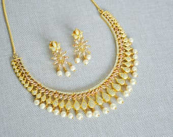 Gold plated cubic zirconia Indian necklace set with champagne and white stones | Indian bridal Jewellery set perfect for Indian weddings