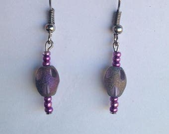 Purple Iridescent glass Beaded Dangle Earrings, hypoallergenic fish hooks