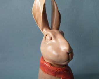 Hare - ceramic sculpture.