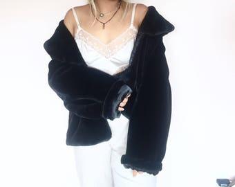 black fluffy faux fur coat // vintage 90s 80s