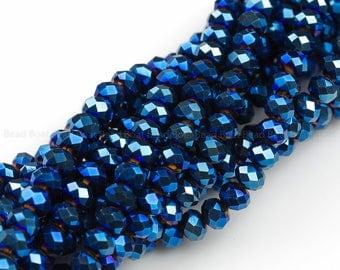 8mm Crystal Rondelle -1 or 5 or 10 STRANDS- Blue Metallic