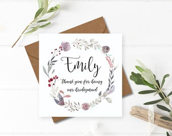 Floral Wreath Wedding Thank You Card - Handmade & Personalised for Bridesmaids, Flower Girls and Maid of Honour/Honor