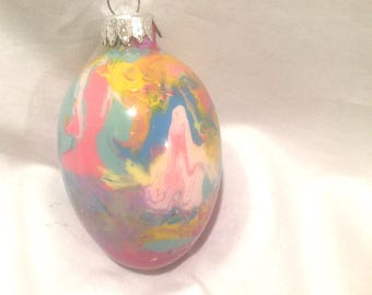 Glass Easter Egg Ornament  Pink Blue Yellow Hand Inside Painted Swirl
