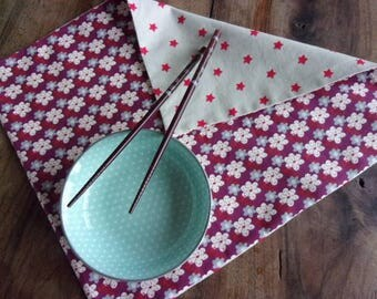 """Set of two place mats """"Flowers of plum tree"""", two sided/two moods, reds and plum"""