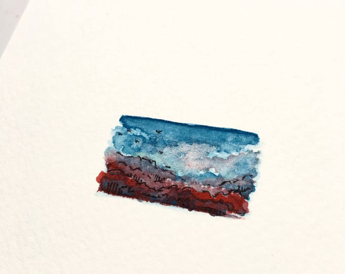 Vibrancy / original tiny landscape art on paper / unframed artwork / romantic scenic view + birds in flight