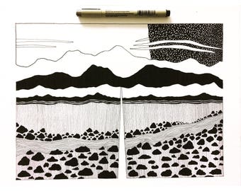 Pen and Ink illustration California Sierra Nevada Mountains drawing night sky stars nature landscape print black and white drawing art