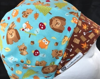 S'mores Surgical Cap Bouffant Scrub Hats for Women Scrub Tech Hat LoveNStitchies Caps Nurse Chocolate Camping Fox Owls Bears Blue  Racoons