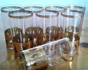 Vintage Mid Century Modern Culver Antigua 22K. Gold Decorated Highball Glasses