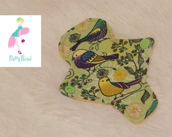"""6"""" Thong Liner Birds Jersey CSP Cloth pad (2"""" snapped) thin discrete fleece back daily liner"""