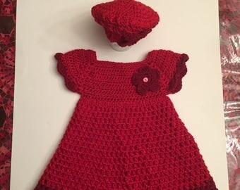 Ruby Girl Crochet Red Burgundy Dress with Beanie with Flower