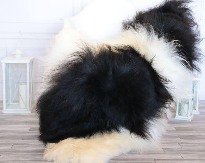 Icelandic Sheepskin   Real Sheepskin Rug   Ivory black Sheepskin Rug   Fur Rug   Christmas Decorations #ISLA17