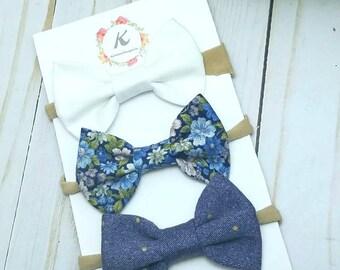 Floral nylon headband set - nylon headband set - white bow - blue floral bow - denim bow - baby girl headbands - hair bow set - baby bow set