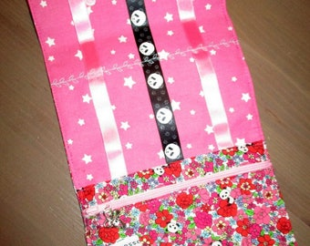 Pouch/Pocket barrettes and elastics cotton flowers and pandas