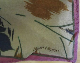 Albert Nipon Blue Brown Scarf 25x25