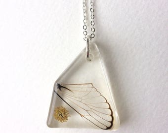 Cicada wing and Mimosa Blossom Pressed Flowers Necklace