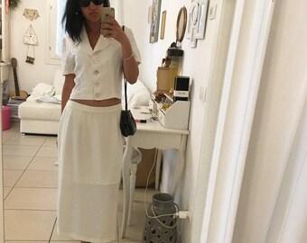white silk skirt