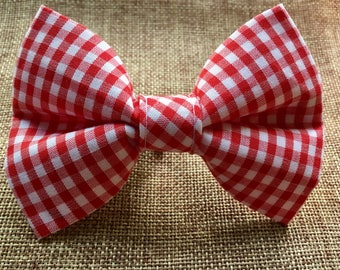 Large Dog Bow Tie, Red and White Gingham Dog Bow Tie,  Gingham Dog Bow Tie, Special Occasion Pet
