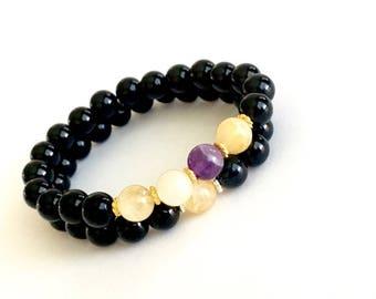 Black Onyx Protection Bracelet Stack
