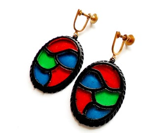 Vintage Stained Glass Earrings - Acrylic Screw Back - Red Blue Green Plastic - Dangle Earrings - Unique Jewelry - Gift For Her