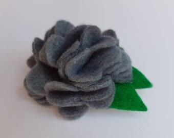 Felt flower hairclip, felt flower hair clip, felt flower, felt hairclip, flower hair clip, felt flower, grey felt flower, grey flower