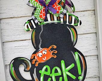 Halloween Door Hanger - Fall Door Hanger -Black Cat Door Decor - Fall Decor - Thanksgiving Decorations - Halloween Decorations- Cat Decor