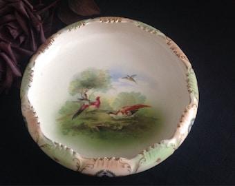 Crown Devon Fieldings bowl. Game birds. c1913  Vintage