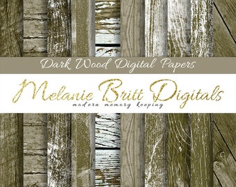 DARK WOOD digital paper pack, distressed wood, rustic wood background, old wood panels, worn wood paper, wood textures, printable wood paper