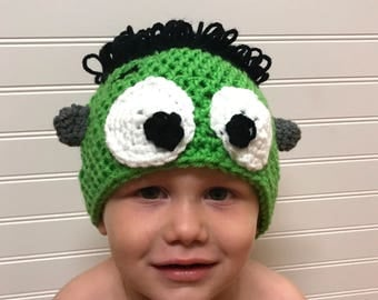 crochet halloween hat, frankenstein hat, toddlwr frankenstein hat, frankenstein costume, yarn wig, halloween wig