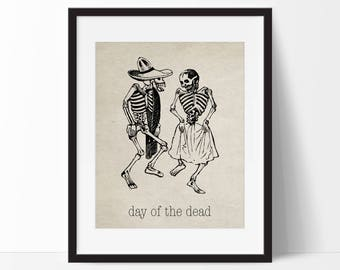 Day of the Dead Vintage Art Print - Dia De Los Muertos - Wall Art - Home Decor - Office Decor - Mexican Art