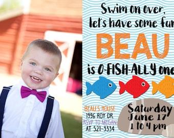 O-Fish-Al Photo Birthday Invitation