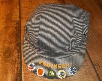 Old Engineer Cap with Railroad Buttons, Clip On Hat Pinbacks, Santa Fe, Railroadiana, Erie, Union Pacific, C and O Railway, Trains, RPR