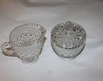Authentic Vintage Crystal Cream and Sugar Set with Matching Lid for Sugar Bowl, Gorgeous Design, Photos Don't Show How Beautiful This Set is