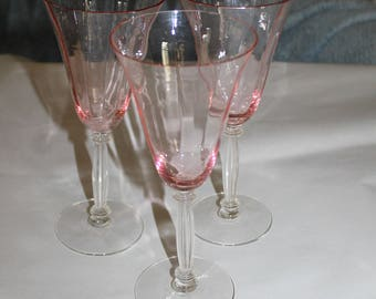 Three Vintage Champagne Flutes or Wine Glasses, Fostoria Glass, Beautiful, Photos Don't do Them Justice, Perfect for Easter or Holidays
