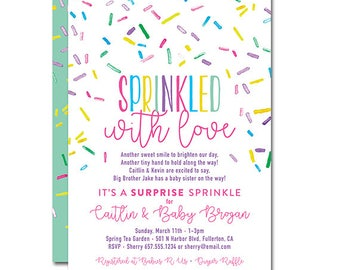 Baby Sprinkle Shower 5x7 Invitation - Sprinkled with Love - Printable and Personalized