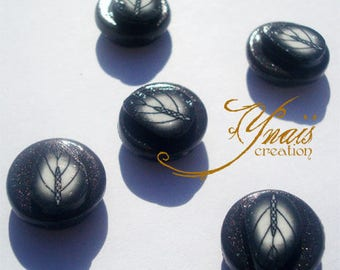 set of 5 magnets leaves polymer clay round shape black