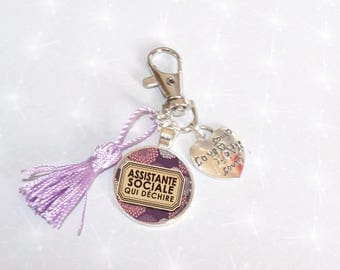Jewelry bag Keychain purple cabochon tassel Assistant Social tearing